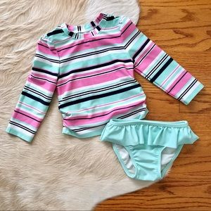Long Sleeve Two Piece Swim Suit with Ruffles 2T